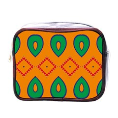 Rhombus And Leaves                                                                			mini Toiletries Bag (one Side)