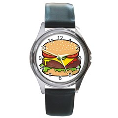 Cheeseburger Round Metal Watch by sifis