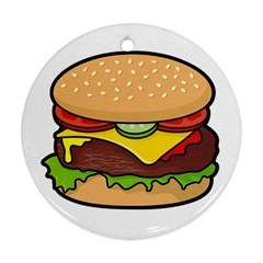 Cheeseburger Round Ornament (two Sides)  by sifis