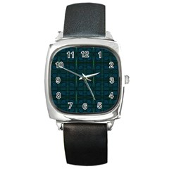 Dark Blue Teal Mod Circles Square Metal Watch by BrightVibesDesign