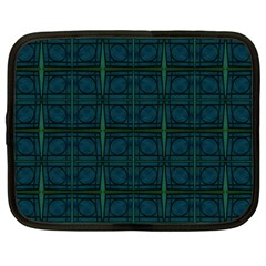 Dark Blue Teal Mod Circles Netbook Case (large) by BrightVibesDesign