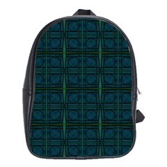 Dark Blue Teal Mod Circles School Bags(large)  by BrightVibesDesign