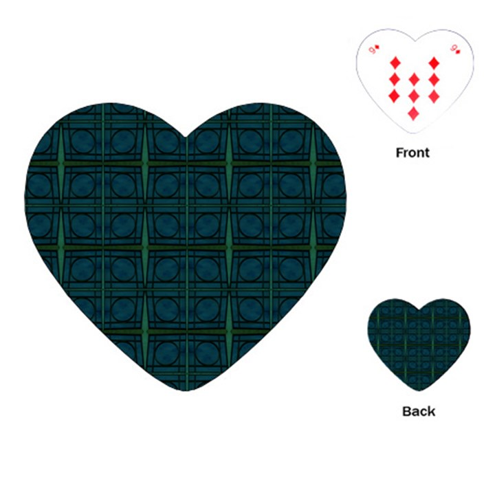 Dark Blue Teal Mod Circles Playing Cards (Heart)