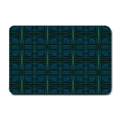 Dark Blue Teal Mod Circles Small Doormat  by BrightVibesDesign