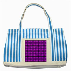 Bright Pink Mod Circles Striped Blue Tote Bag by BrightVibesDesign