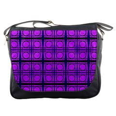 Bright Pink Mod Circles Messenger Bags by BrightVibesDesign