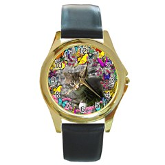 Emma In Butterflies I, Gray Tabby Kitten Round Gold Metal Watch by DianeClancy