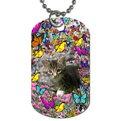 Emma In Butterflies I, Gray Tabby Kitten Dog Tag (two Sides) by DianeClancy