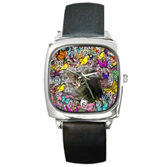 Emma In Butterflies I, Gray Tabby Kitten Square Metal Watch by DianeClancy