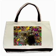 Emma In Butterflies I, Gray Tabby Kitten Basic Tote Bag (two Sides) by DianeClancy