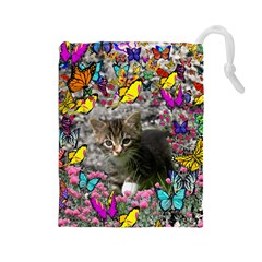 Emma In Butterflies I, Gray Tabby Kitten Drawstring Pouches (large)  by DianeClancy