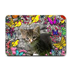 Emma In Butterflies I, Gray Tabby Kitten Small Doormat  by DianeClancy