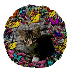 Emma In Butterflies I, Gray Tabby Kitten Large 18  Premium Round Cushions by DianeClancy