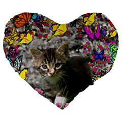 Emma In Butterflies I, Gray Tabby Kitten Large 19  Premium Heart Shape Cushions by DianeClancy