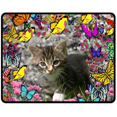 Emma In Butterflies I, Gray Tabby Kitten Double Sided Fleece Blanket (medium)  by DianeClancy