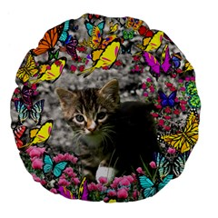 Emma In Butterflies I, Gray Tabby Kitten Large 18  Premium Flano Round Cushions by DianeClancy