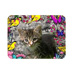 Emma In Butterflies I, Gray Tabby Kitten Double Sided Flano Blanket (mini)  by DianeClancy