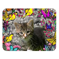 Emma In Butterflies I, Gray Tabby Kitten Double Sided Flano Blanket (large)  by DianeClancy