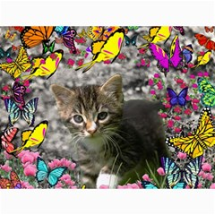 Emma In Butterflies I, Gray Tabby Kitten Canvas 18  X 24   by DianeClancy