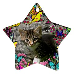 Emma In Butterflies I, Gray Tabby Kitten Ornament (star)  by DianeClancy