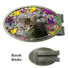 Emma In Butterflies I, Gray Tabby Kitten Money Clips (oval)  by DianeClancy