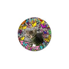 Emma In Butterflies I, Gray Tabby Kitten Golf Ball Marker (4 Pack) by DianeClancy