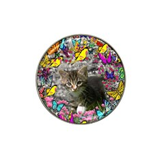 Emma In Butterflies I, Gray Tabby Kitten Hat Clip Ball Marker by DianeClancy