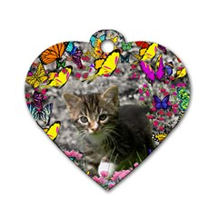 Emma In Butterflies I, Gray Tabby Kitten Dog Tag Heart (two Sides) by DianeClancy