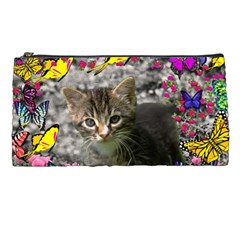 Emma In Butterflies I, Gray Tabby Kitten Pencil Cases by DianeClancy