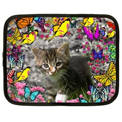 Emma In Butterflies I, Gray Tabby Kitten Netbook Case (large) by DianeClancy