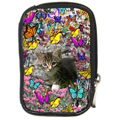 Emma In Butterflies I, Gray Tabby Kitten Compact Camera Cases by DianeClancy