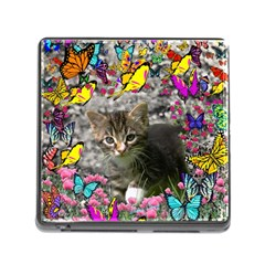Emma In Butterflies I, Gray Tabby Kitten Memory Card Reader (square) by DianeClancy