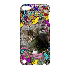 Emma In Butterflies I, Gray Tabby Kitten Apple Ipod Touch 5 Hardshell Case by DianeClancy