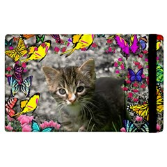 Emma In Butterflies I, Gray Tabby Kitten Apple Ipad 3/4 Flip Case by DianeClancy