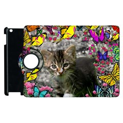 Emma In Butterflies I, Gray Tabby Kitten Apple Ipad 2 Flip 360 Case by DianeClancy