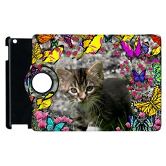 Emma In Butterflies I, Gray Tabby Kitten Apple Ipad 3/4 Flip 360 Case by DianeClancy