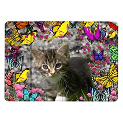 Emma In Butterflies I, Gray Tabby Kitten Samsung Galaxy Tab 10 1  P7500 Flip Case by DianeClancy