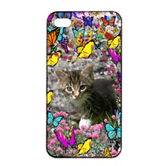 Emma In Butterflies I, Gray Tabby Kitten Apple Iphone 4/4s Seamless Case (black) by DianeClancy