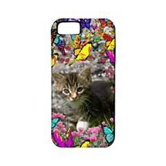 Emma In Butterflies I, Gray Tabby Kitten Apple Iphone 5 Classic Hardshell Case (pc+silicone) by DianeClancy