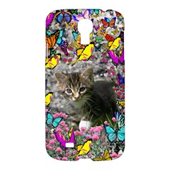 Emma In Butterflies I, Gray Tabby Kitten Samsung Galaxy S4 I9500/i9505 Hardshell Case by DianeClancy