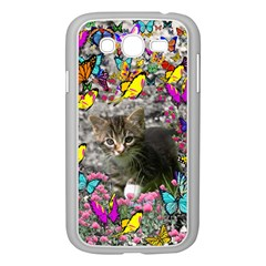 Emma In Butterflies I, Gray Tabby Kitten Samsung Galaxy Grand Duos I9082 Case (white) by DianeClancy