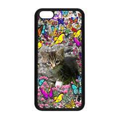 Emma In Butterflies I, Gray Tabby Kitten Apple Iphone 5c Seamless Case (black) by DianeClancy