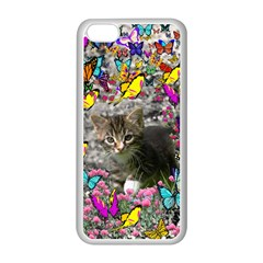 Emma In Butterflies I, Gray Tabby Kitten Apple Iphone 5c Seamless Case (white) by DianeClancy