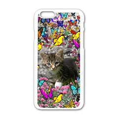 Emma In Butterflies I, Gray Tabby Kitten Apple Iphone 6/6s White Enamel Case by DianeClancy