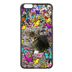 Emma In Butterflies I, Gray Tabby Kitten Apple Iphone 6 Plus/6s Plus Black Enamel Case by DianeClancy