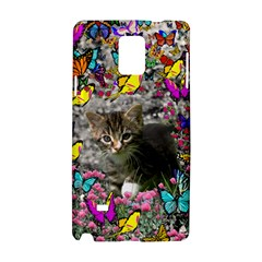 Emma In Butterflies I, Gray Tabby Kitten Samsung Galaxy Note 4 Hardshell Case by DianeClancy