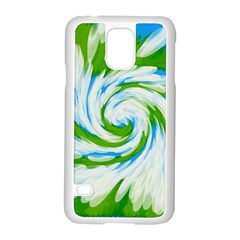 Tie Dye Green Blue Abstract Swirl Samsung Galaxy S5 Case (white) by BrightVibesDesign