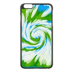 Tie Dye Green Blue Abstract Swirl Apple Iphone 6 Plus/6s Plus Black Enamel Case by BrightVibesDesign