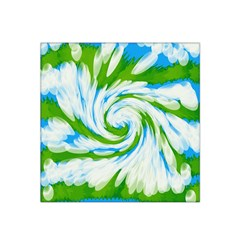 Tie Dye Green Blue Abstract Swirl Satin Bandana Scarf by BrightVibesDesign