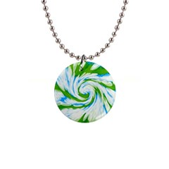 Tie Dye Green Blue Abstract Swirl Button Necklaces by BrightVibesDesign